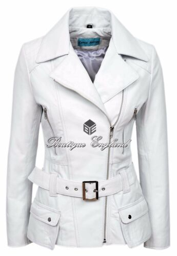 'FEMININE' Ladies White WASHED Biker Style Designer Real Lambskin Leather Jacket