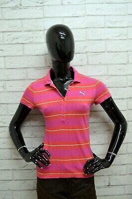 Adattabile Polo Puma Donna Taglia Size 40 S Maglia Maglietta Camicia Shirt Woman Righe Slim