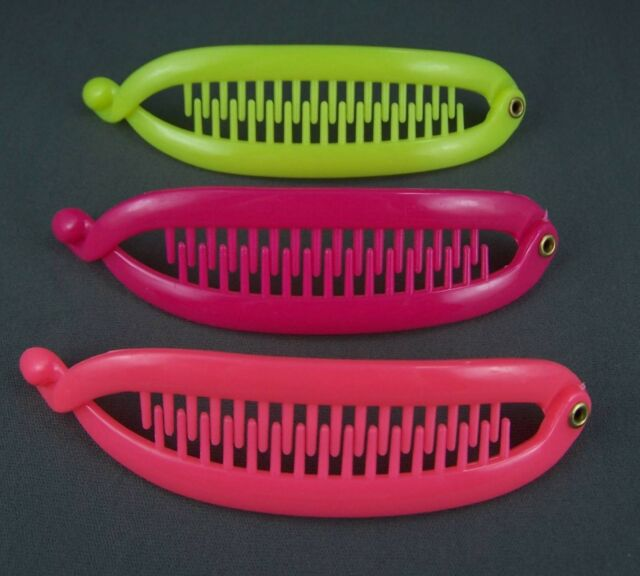 """Yellow Neon Pink set pack of 3 small banana hair clips comb plastic 4.75"""" long"""