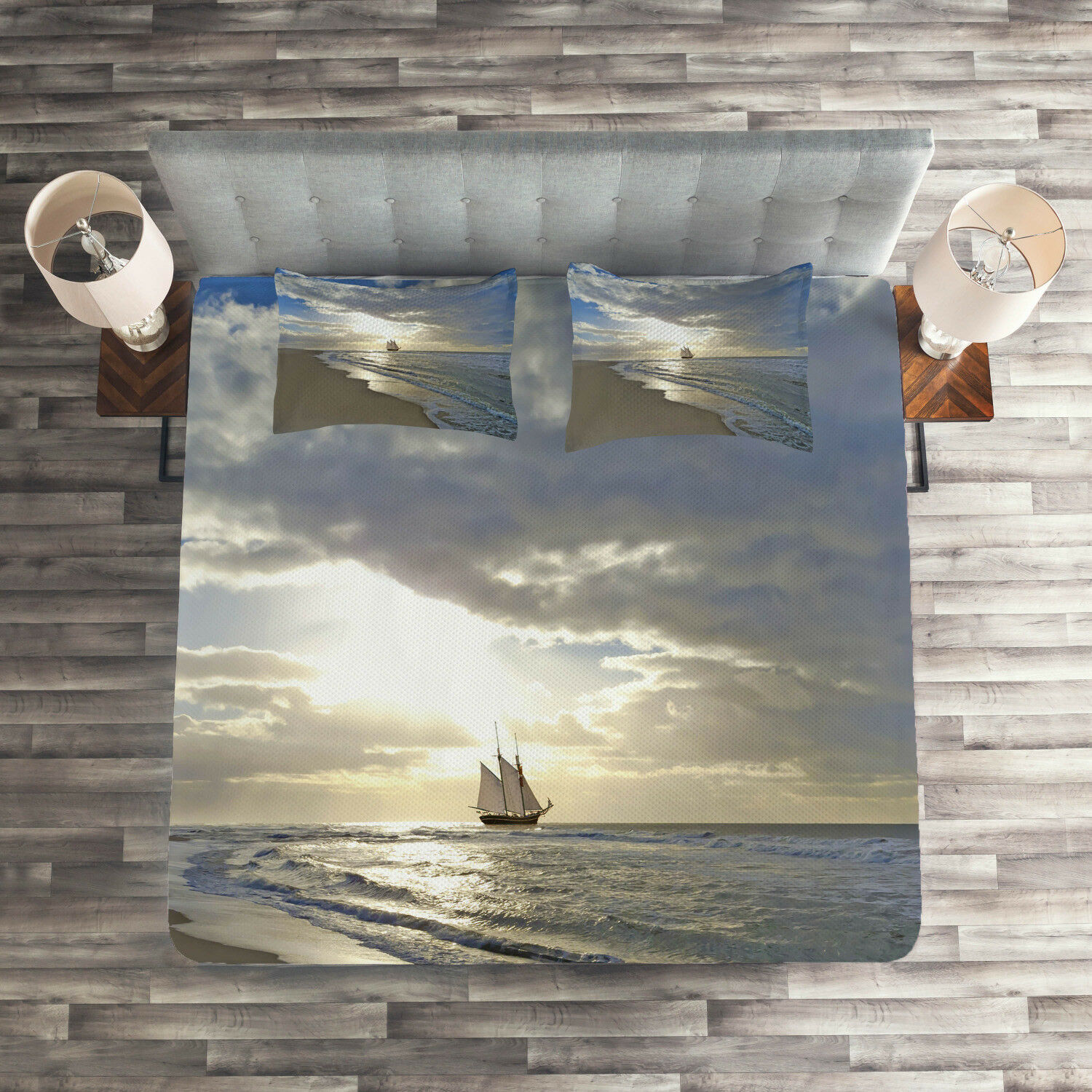 Beach Quilted Coverlet & Pillow Shams Set, Sailing Ship at Sunset Print