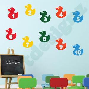 RUBBER DUCKS Numbers 1 - 10 Learning Girls Boys Bedroom Nursery Wall Art Sticker