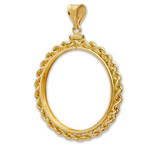SKU #63645 27 mm 14K Gold Screw-Top Rope Polished Coin Bezel