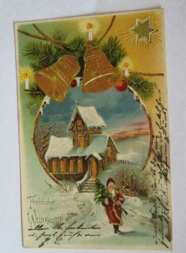"""Christmas,Santa claus,Church,Bells,Pine tree"" 1905,Embossed postcard 22133"