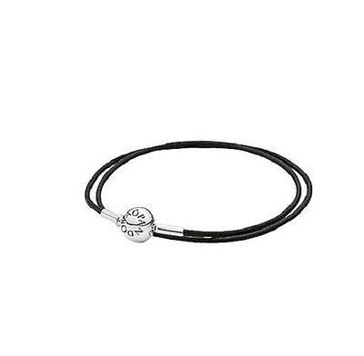 Authentic Pandora - BLACK DOUBLE WRAP - ESSENCE Bracelet - 36cm