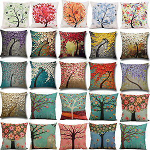 Table & Sofa Linens Fashion Oil Painting Style Cushion Cover 100% Flax Colorful Trees Flowers Simple Shape Pillows Cover Nordic Simple Brand Pillow