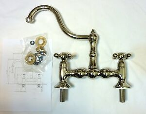 cucina kitchen faucets cucina 7200 40 pn two handle bridge kitchen faucet polished nickel pvd new ebay 4771