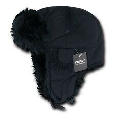 Black Aviator Bomber Faux Fur Winter Ski Trooper Trapper Ear Flap Hat Cap S/M