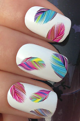 6 SHEETS NAIL ART SET #619 MULTI RAINBOW FEATHERS WATER TRANSFER DECALS STICKERS