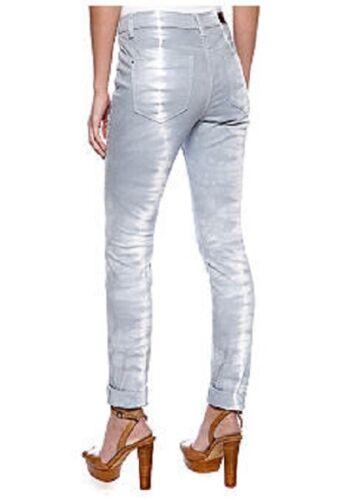 """DKNY /""""Hippy Trail/"""" Bay Breeze Silver Tie-Dye Stretch Denim Skinny Jeans $90"""