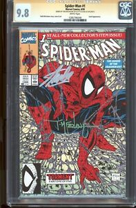 Spider-Man-1-CGC-9-8-SSx2-WP-Signed-STAN-LEE-amp-Todd-McFarlane-Green-Variant