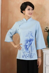 Chinese-Traditional-Tops-Women-Cotton-Shirt-Summer-Blouse-Size-M-3XL