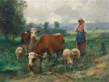 """Julien Dupre, Cows, Sheep, Farm, Landscape, antique decor, 14""""x10"""" Art Print"""