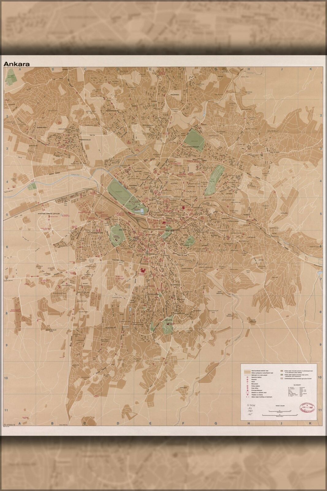 Poster, Many Größes; Cia Map Of Ankara Turkey 1981