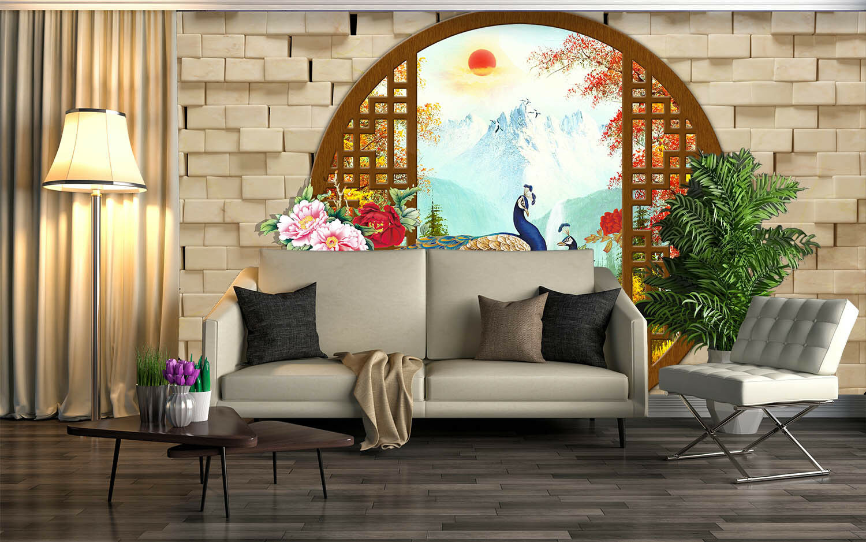 3D Pfauen Landschaft 73 Tapete Wandgemälde Tapete Tapeten Bild Familie DE Summer