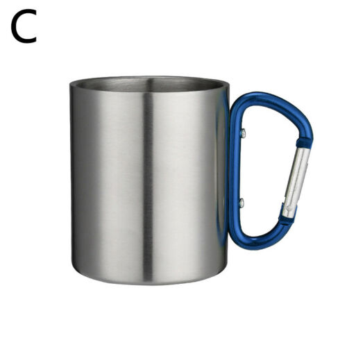 200ml Carabiner Camping Cup Stainless Steel Mug Hook Cup Picnic//Hiking//Travel