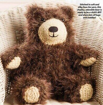 """Patrón de ganchillo-Sedoso Furry Bff oso de peluche sentado 12/"""" 0781"""