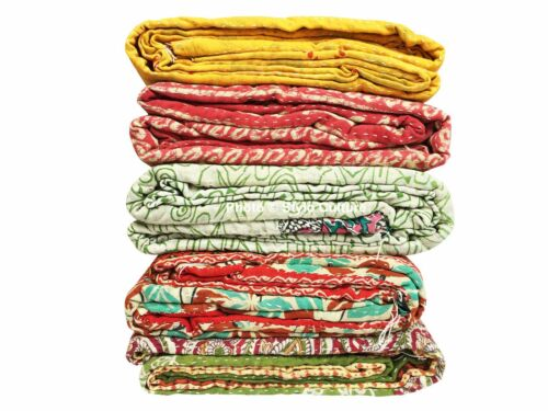 5 Pcs Wholesale Lot Heavy Weight 3 Layered Kantha Quilts Vintage Cotton Throw