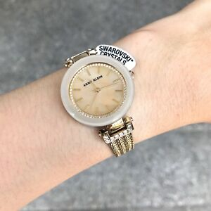 Anne-Klein-Watch-1906TMGB-Tan-MOP-amp-Gold-Steel-Chain-Bangle-Women-COD-PayPal