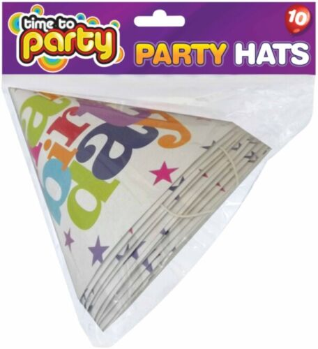 20x Happy Birthday Party Hats// Fun White Paper Cone Hats//Time to Birthday Hats