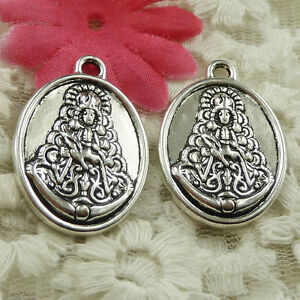#4605 Free Ship 14 pieces Antique silver oval Buddha charms 31x22mm