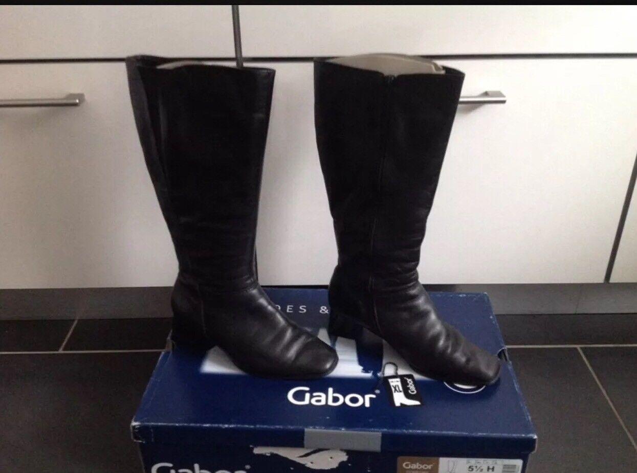 GABOR COMFORT Gefüttert Elegant1 Stiefel Leder Schwarz Gefüttert COMFORT Gr. 38,5 H  5-1/2 H m.OVP 007d8e