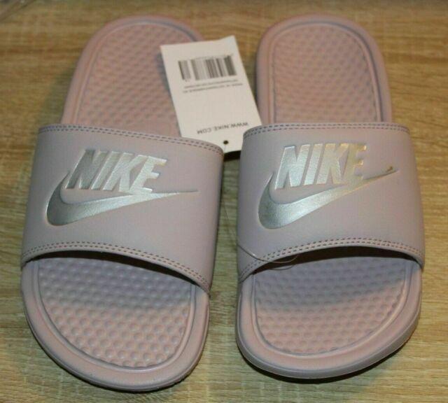 Women's Nike Benassi JDI Print Slide Sandals Paricle Rose / Metallic Silver  US11