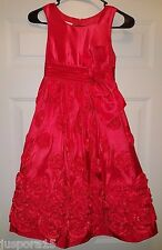 Bonnie Jean Girl's Red Floral Sleeveless Party Easter Formal Casual Dress Size 8
