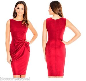 Goddess-Vintage-Red-Drape-Bow-Fitted-Pencil-Wiggle-Cocktail-Party-Shift-Dress
