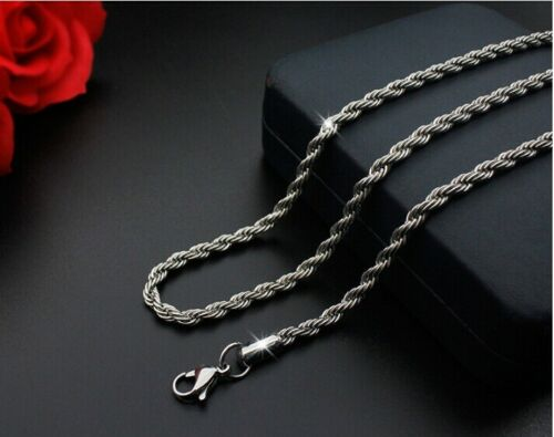 50cm Men Womens 316L Stainless Steel Silver Twist Twist Chain Necklace Gifts