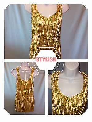 C.J. Banks Women's Gold Expandable Sleeveless Top 2x