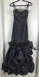 Jovani-Sz-2-Beaded-Sweetheart-Neckline-Long-Black-Strapless-Formal-Dress