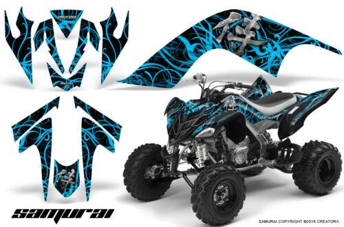 YAMAHA RAPTOR 700 06-12 GRAPHICS KIT CREATORX DECALS SAMURAI BLUE ICE BLACK