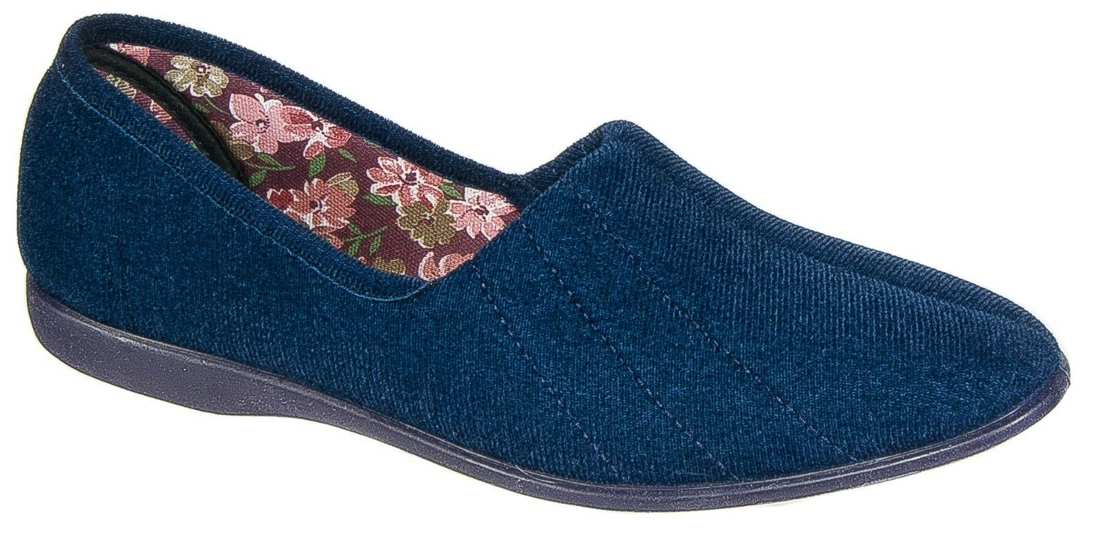 Womens Ladies Slip On Slippers / Navy Blue Textile Rubber Soled GBS 3 to 9