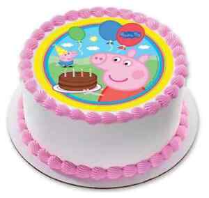 Fantastic Peppa Pig Edible Birthday Party Cake Decoration Topper Round Image Funny Birthday Cards Online Overcheapnameinfo