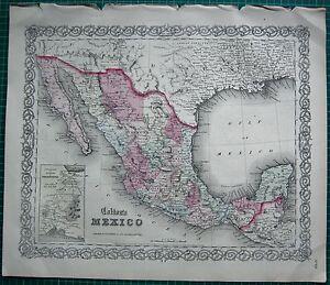1863 LARGE ANTIQUE MAP-COLTON- MEXICO