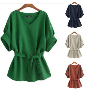 Women-Batwing-Short-Sleeve-Tie-Waist-Tops-Blouse-V-Neck-Solid-Cotton-T-Shirt-NAW