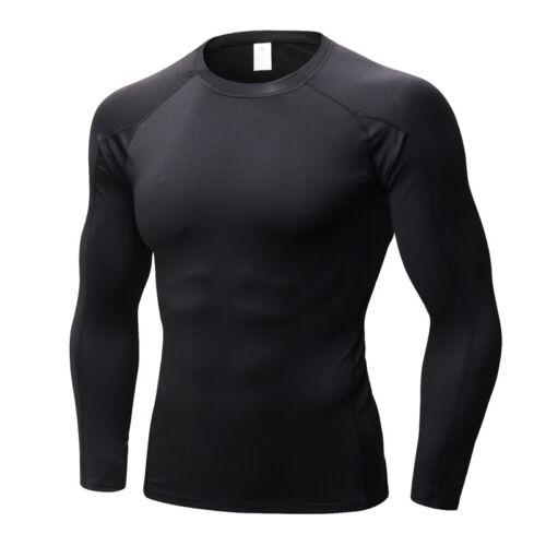 Herren Kompressions Thermische Funktionsshirt Tops Langarm Under Skin T-Shirts