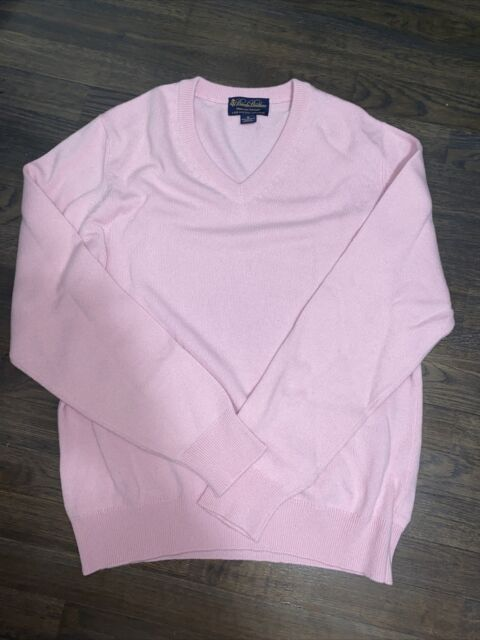 Brooks Brothers 3 Ply Scottish Cashmere Pink L/S V Neck Sweater Men's Sz M!