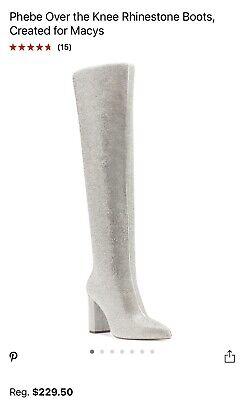 CR Crown Sparkly Rhinestone Wide Top High Heel Thigh High Boots