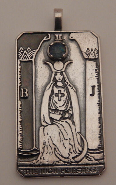 HIGH PRIESTESS Tarot Card Pendant .925 Sterling Silver w/ Opal INTUITION Mystery