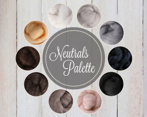 NEUTRALS Color Palette Wool Roving Fiber 2.5ozs//70 grams Felting Spinning Soap