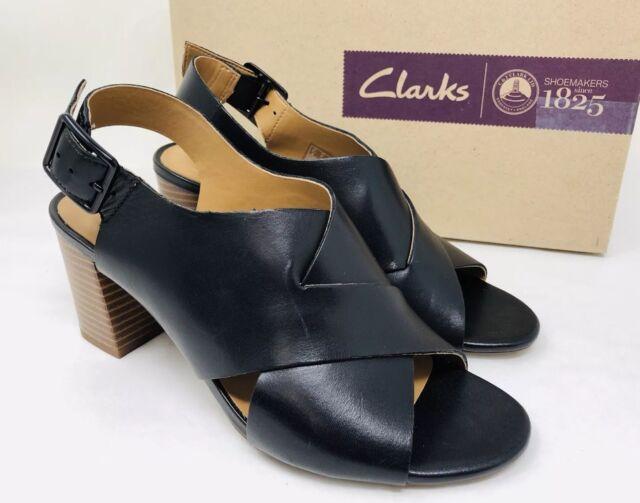 68b2a9d6b Clarks Collection Women's Deva Janie Slingback Sandals Size 6 Black Leather