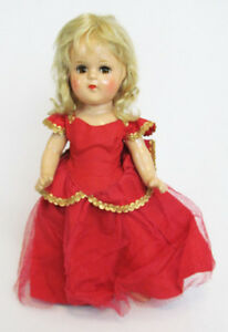 "Vintage Composition Jointed Blonde Hair Brown-Eyed 13"" Girl in Red Dress Doll"