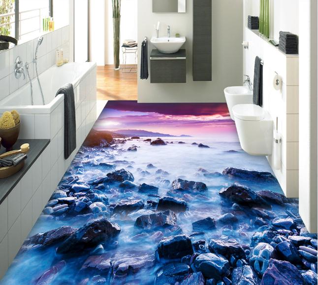 3D Dusk Stone Sea 22 Floor WallPaper Murals Wall Print Decal 5D AJ WALLPAPER