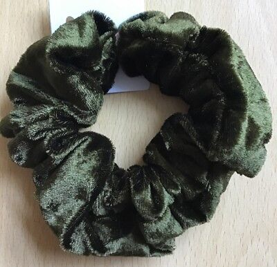 A Moss Green Shaggy Donut Hair Scrunchie//Bobble