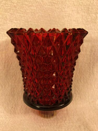 Home Interior Ruby Red Glass Diamond Cut HOMCO Votive Candle Holder EUC