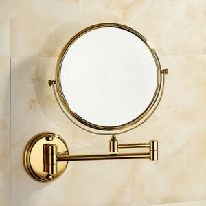 Brass Gold Beauty Bathroom Double Side Magnifying Makeup ...