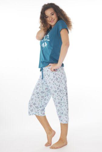 Damen  Baumwolle Pyjama Bermuda Schlafanzug Kurzarm 100/% Baumwolle DF006petrV