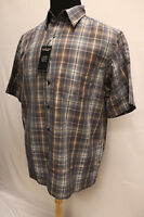 Roundtree And Yorke Men Short Sleeve Checks Casual Shirt Dark Navy Size L