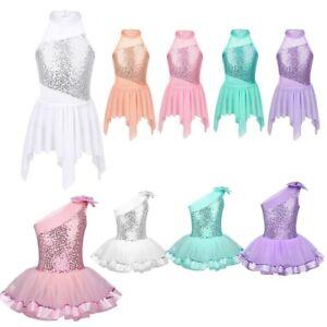 Sequined Dance Dres Girl Kid Lyrical Ballet Leotard Tutu Skirt Dancewear Costume